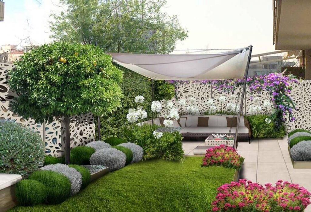 piccolo giardino con vegetazione
